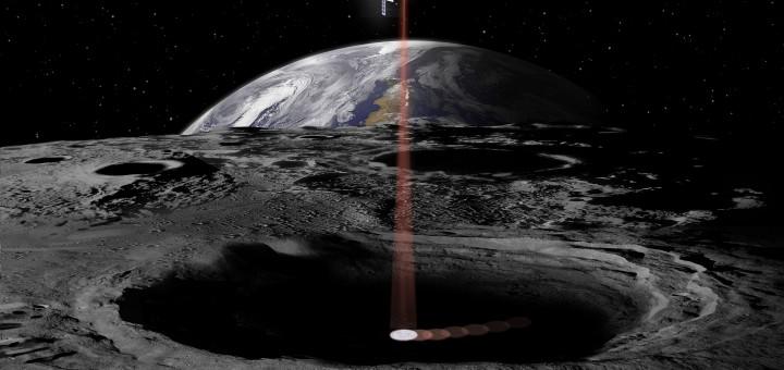 Rappresentazione artistica del CubeSat Lunar Flashlight sopra il polo sud lunare Credits: NASA