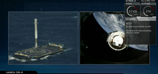 CRS-8 Falcon landed, Dragon in orbit