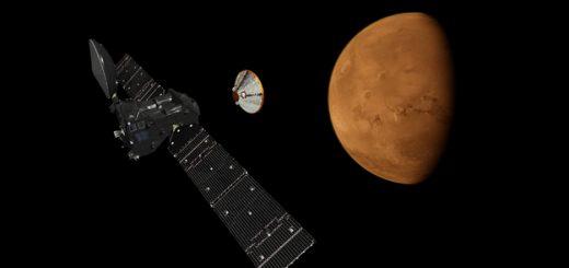 Immagine pittoresca di Trace Gas Orbiter e Schiaparelli. (C) ESA