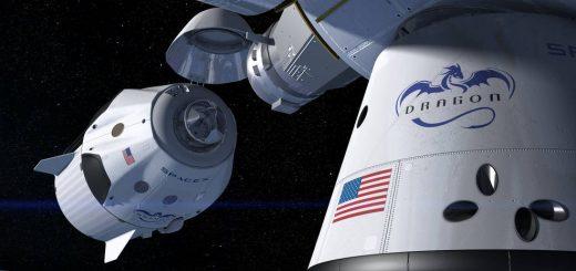 Una rappresentazione artistica di una capsula Crew Dragon mentre effettua il docking con l'International Space Station. (C) SpaceX
